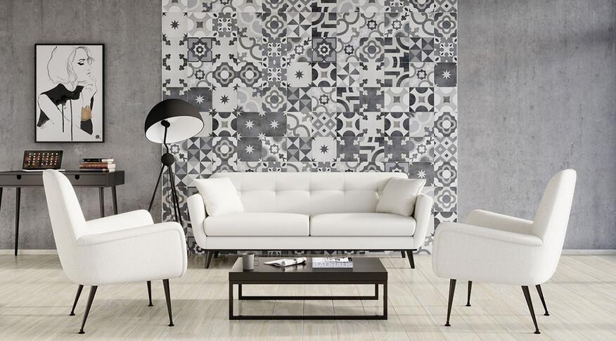 steuler casablanca 25x25 noir-blanc
